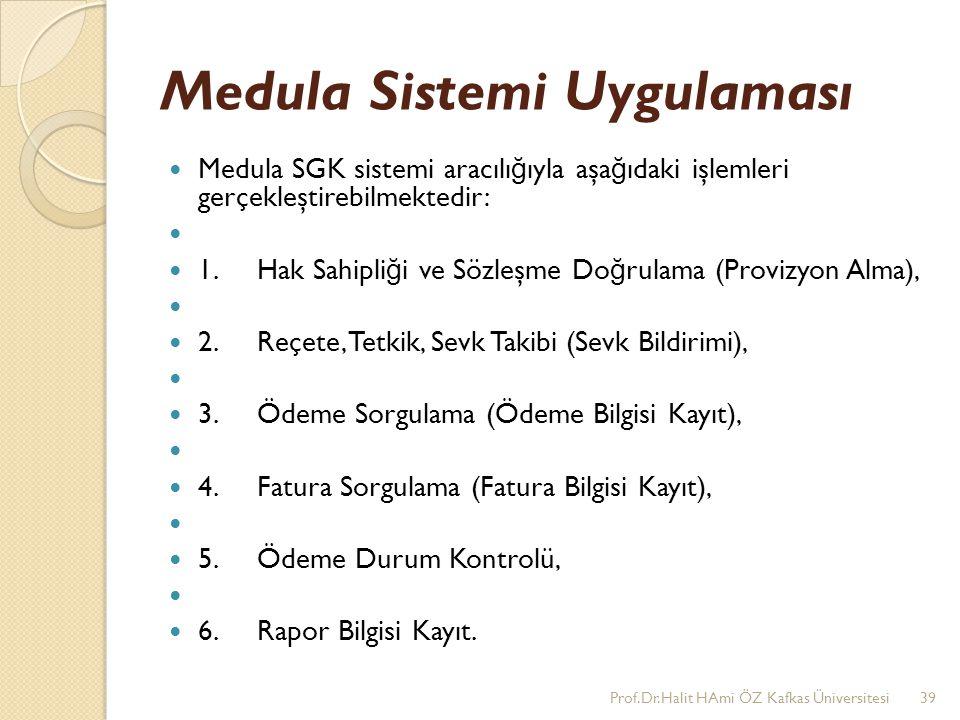 Medula Sistemi Uygulaması Medula SGK sistemi aracılı ğ ıyla aşa ğ ıdaki işlemleri gerçekleştirebilmektedir: 1. Hak Sahipli ğ i ve Sözleşme Do ğ rulama
