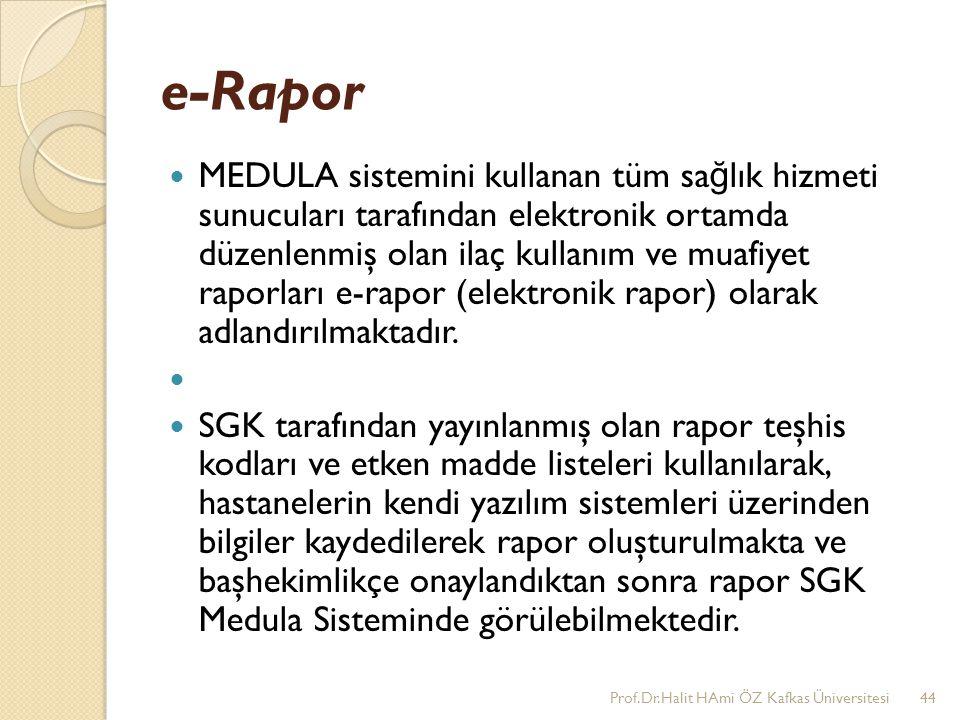 e-Rapor MEDULA sistemini kullanan tüm sa ğ lık hizmeti sunucuları tarafından elektronik ortamda düzenlenmiş olan ilaç kullanım ve muafiyet raporları e