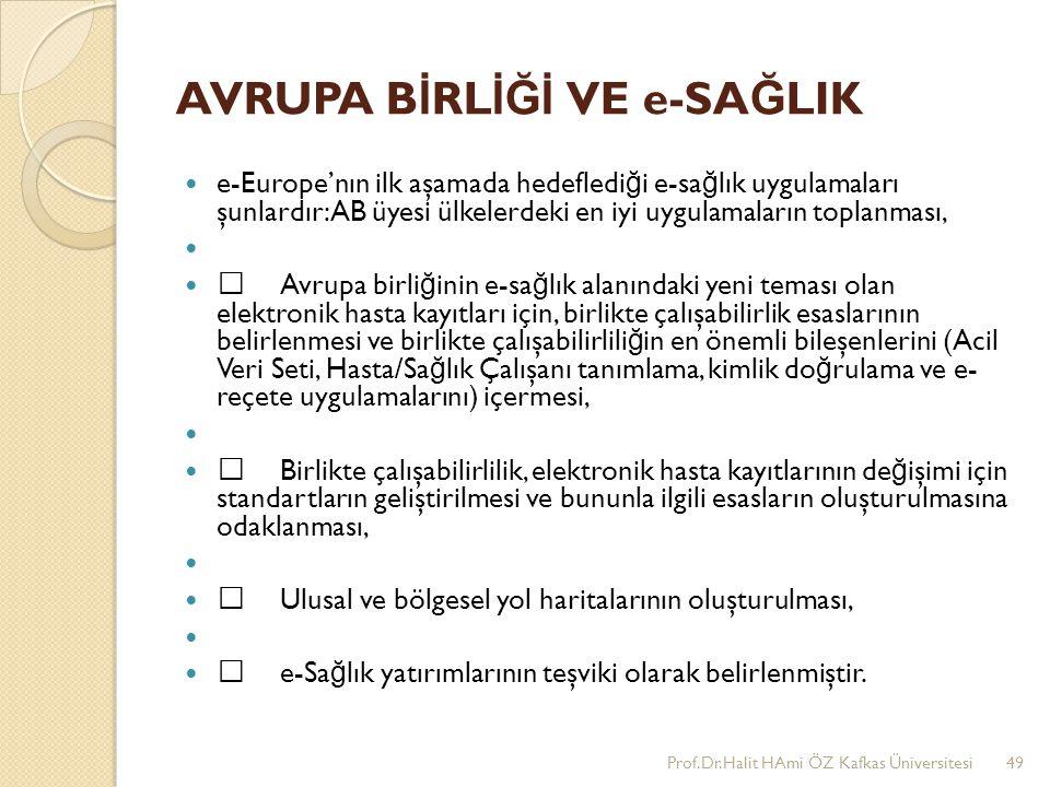 AVRUPA B İ RL İĞİ VE e-SA Ğ LIK e-Europe'nın ilk aşamada hedefledi ğ i e-sa ğ lık uygulamaları şunlardır:AB üyesi ülkelerdeki en iyi uygulamaların top