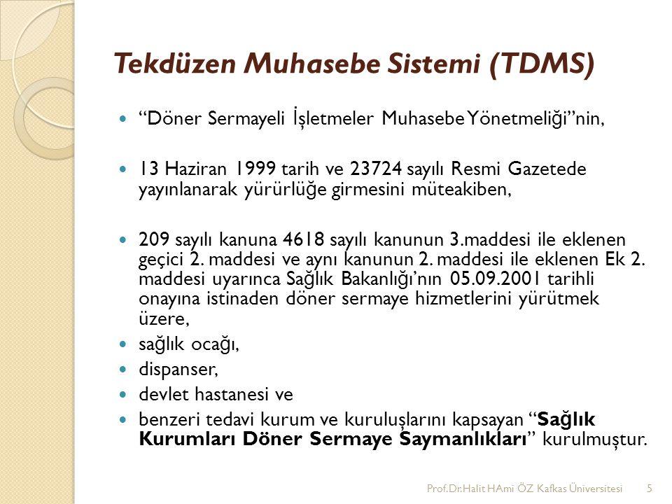 """Tekdüzen Muhasebe Sistemi (TDMS) """"Döner Sermayeli İ şletmeler Muhasebe Yönetmeli ğ i""""nin, 13 Haziran 1999 tarih ve 23724 sayılı Resmi Gazetede yayınla"""