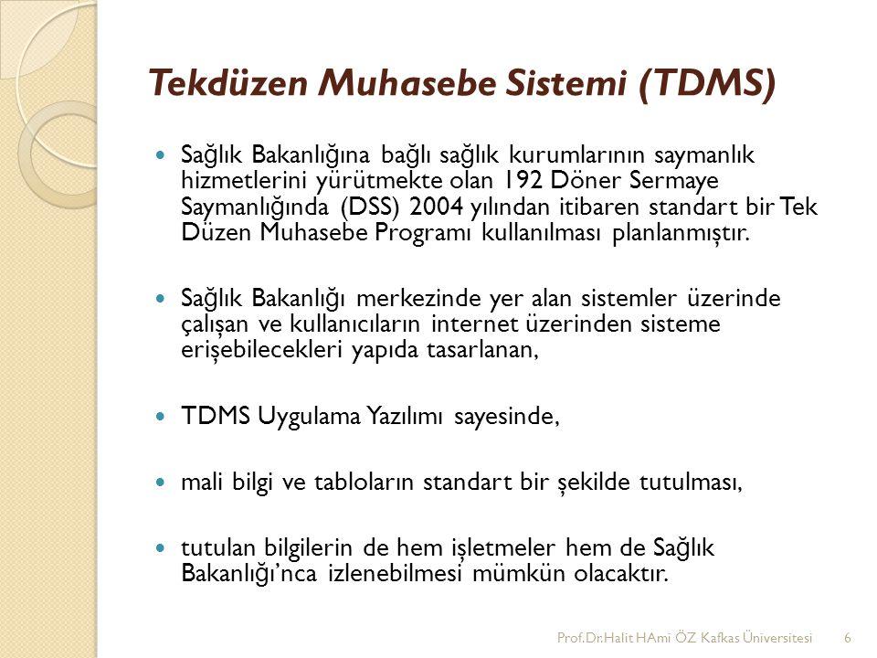 Tekdüzen Muhasebe Sistemi (TDMS) Sa ğ lık Bakanlı ğ ına ba ğ lı sa ğ lık kurumlarının saymanlık hizmetlerini yürütmekte olan 192 Döner Sermaye Saymanl