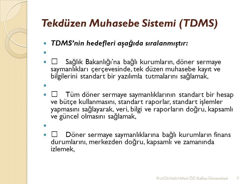 Tekdüzen Muhasebe Sistemi (TDMS) TDMS'nin hedefleri aşa ğ ıda sıralanmıştır: •Sa ğ lık Bakanlı ğ ı'na ba ğ lı kurumların, döner sermaye saymanlıkları