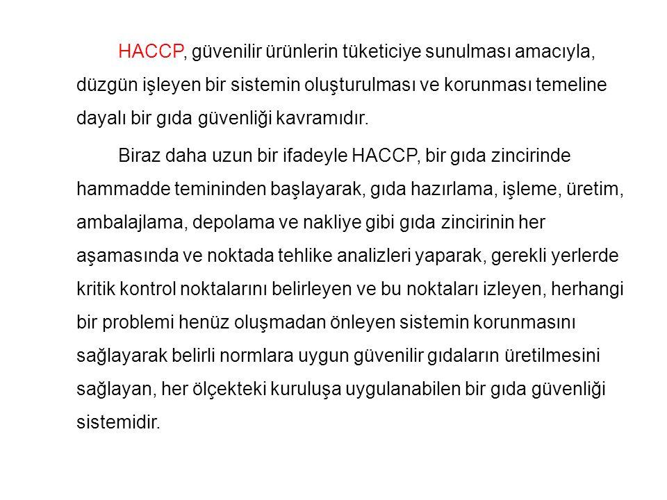 HACCP, güvenilir ürünlerin tüketiciye sunulması amacıyla, düzgün işleyen bir sistemin oluşturulması ve korunması temeline dayalı bir gıda güvenliği kavramıdır.