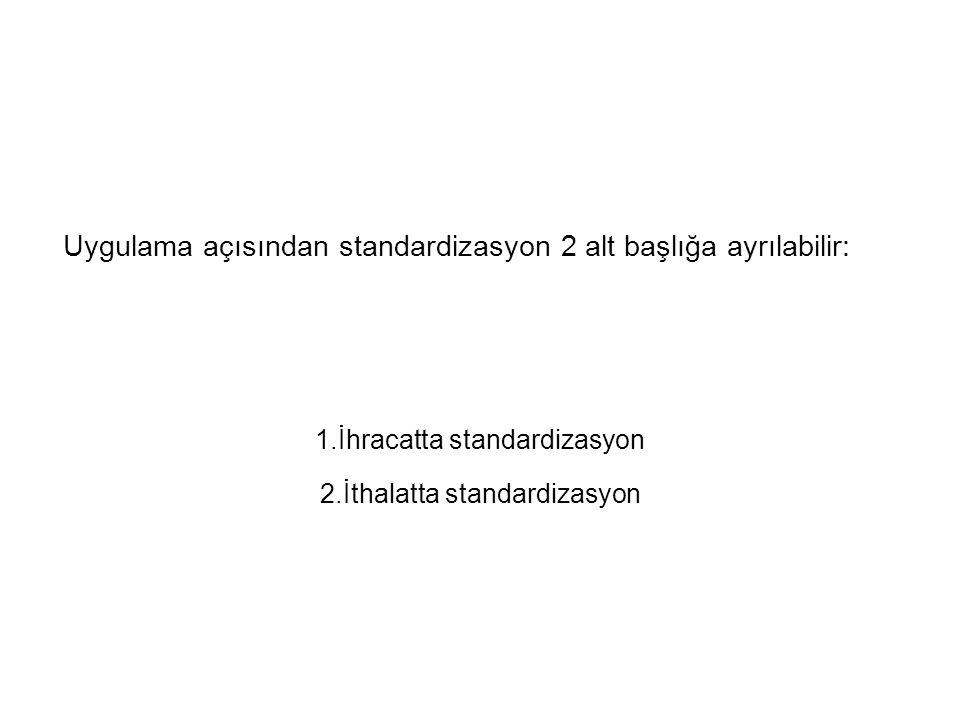 Uygulama açısından standardizasyon 2 alt başlığa ayrılabilir: 1.İhracatta standardizasyon 2.İthalatta standardizasyon