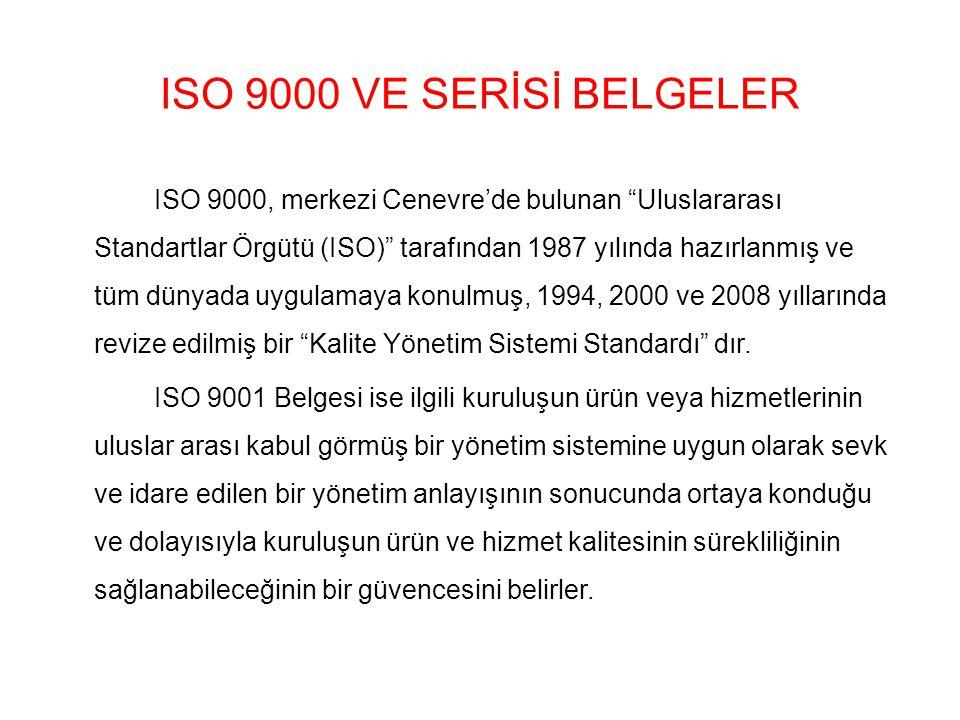 ISO 9000 VE SERİSİ BELGELER ISO 9000, merkezi Cenevre'de bulunan Uluslararası Standartlar Örgütü (ISO) tarafından 1987 yılında hazırlanmış ve tüm dünyada uygulamaya konulmuş, 1994, 2000 ve 2008 yıllarında revize edilmiş bir Kalite Yönetim Sistemi Standardı dır.