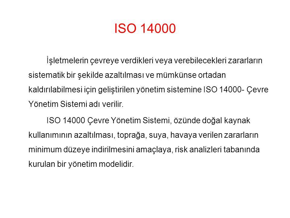 ISO 14000 İşletmelerin çevreye verdikleri veya verebilecekleri zararların sistematik bir şekilde azaltılması ve mümkünse ortadan kaldırılabilmesi için geliştirilen yönetim sistemine ISO 14000- Çevre Yönetim Sistemi adı verilir.