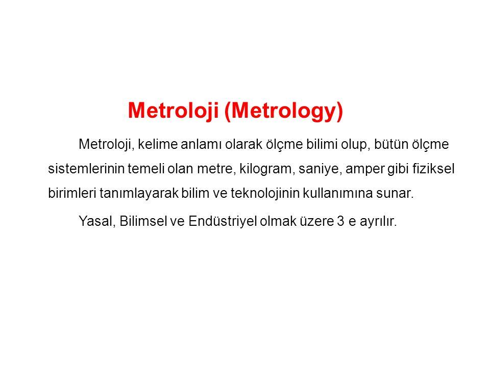 Metroloji (Metrology) Metroloji, kelime anlamı olarak ölçme bilimi olup, bütün ölçme sistemlerinin temeli olan metre, kilogram, saniye, amper gibi fiziksel birimleri tanımlayarak bilim ve teknolojinin kullanımına sunar.