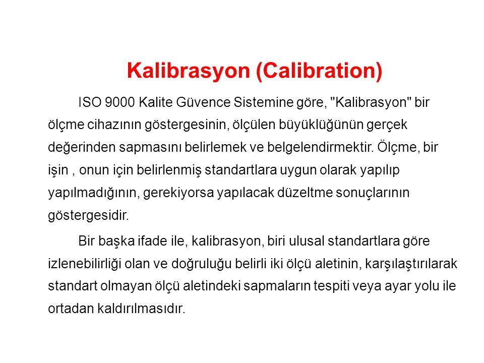 Kalibrasyon (Calibration) ISO 9000 Kalite Güvence Sistemine göre, Kalibrasyon bir ölçme cihazının göstergesinin, ölçülen büyüklüğünün gerçek değerinden sapmasını belirlemek ve belgelendirmektir.