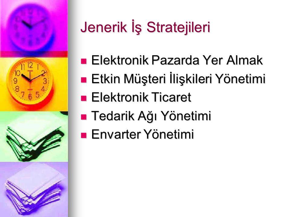 Jenerik İş Stratejileri Elektronik Pazarda Yer Almak Elektronik Pazarda Yer Almak Etkin Müşteri İlişkileri Yönetimi Etkin Müşteri İlişkileri Yönetimi