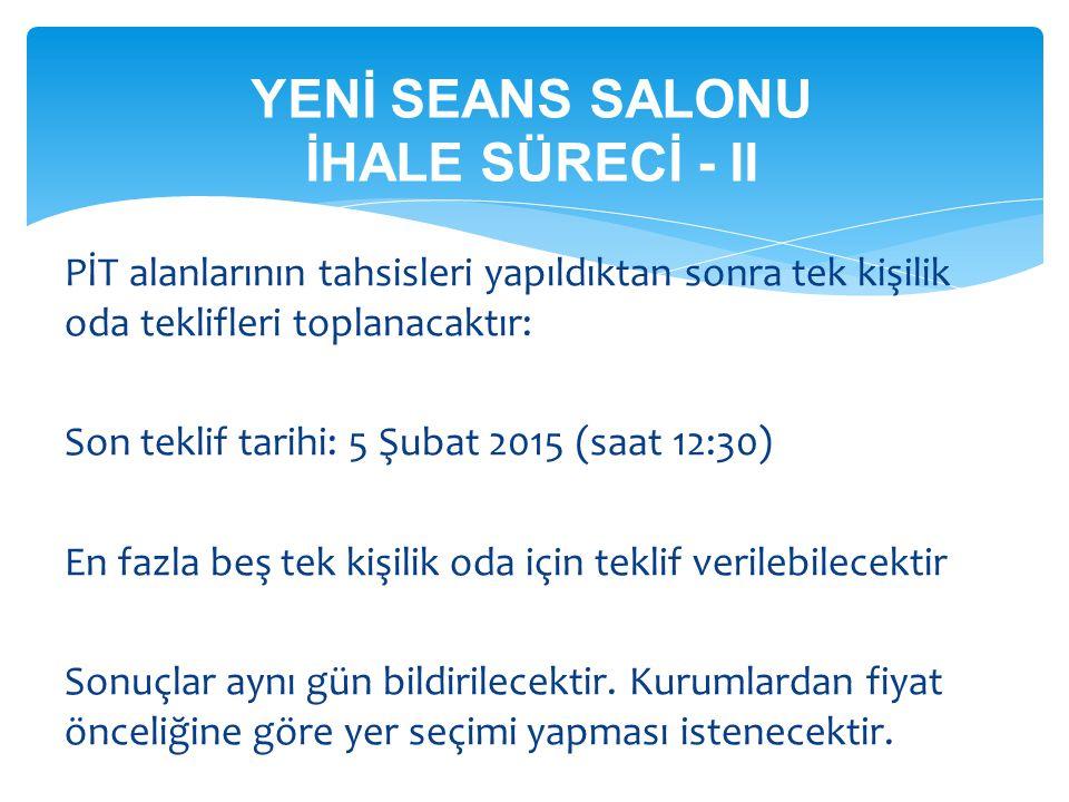 YENİ SEANS SALONU İHALE SÜRECİ - II PİT alanlarının tahsisleri yapıldıktan sonra tek kişilik oda teklifleri toplanacaktır: Son teklif tarihi: 5 Şubat
