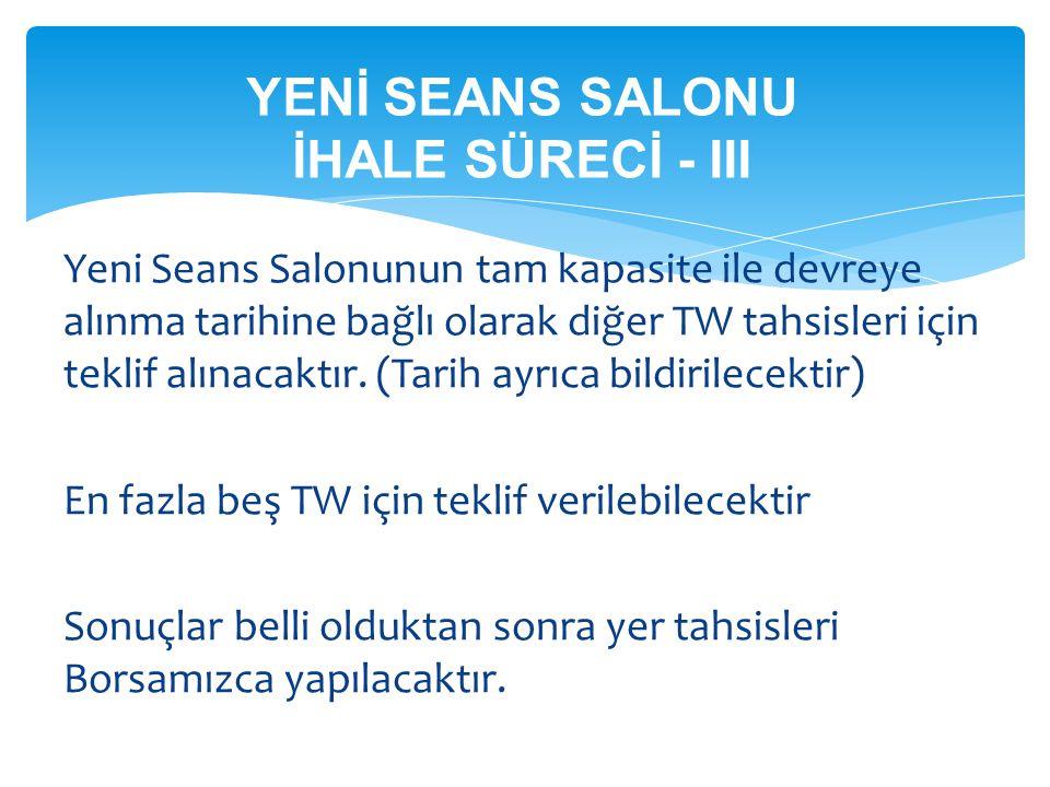 YENİ SEANS SALONU İHALE SÜRECİ - III Yeni Seans Salonunun tam kapasite ile devreye alınma tarihine bağlı olarak diğer TW tahsisleri için teklif alınac