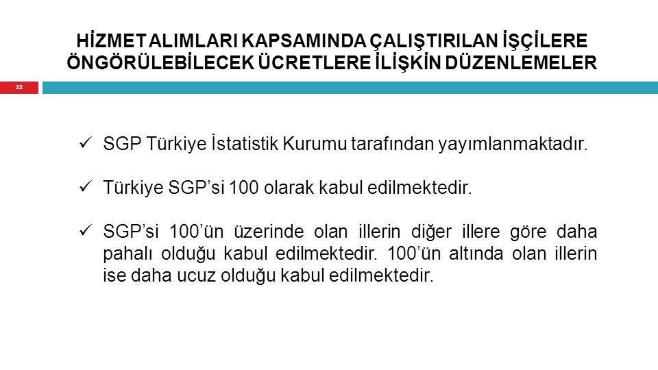 HİZMET ALIMLARI KAPSAMINDA ÇALIŞTIRILAN İŞÇİLERE ÖNGÖRÜLEBİLECEK ÜCRETLERE İLİŞKİN DÜZENLEMELER SGP Türkiye İstatistik Kurumu tarafından yayımlanmakta
