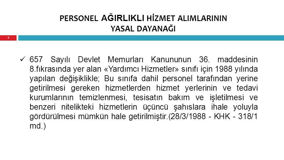 PERSONEL AĞIRLIKLI HİZMET ALIMLARININ YASAL DAYANAĞI 657 Sayılı Devlet Memurları Kanununun 36. maddesinin 8.fıkrasında yer alan «Yardımcı Hizmetler» s