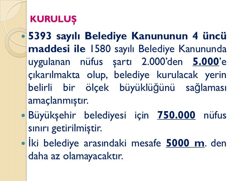 SORU .Belediye Kanunu na göre nüfusu kaç kişinin üzerindeki yerlerde belediye kurulabilir.