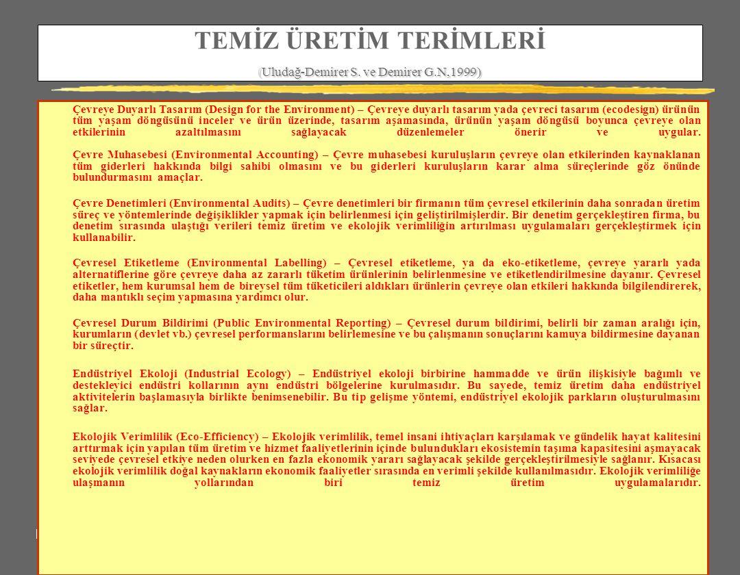 (Uludağ-Demirer S. ve Demirer G.N,1999) TEMİZ ÜRETİM TERİMLERİ (Uludağ-Demirer S. ve Demirer G.N,1999) Çevreye Duyarlı Tasarım (Design for the Environ