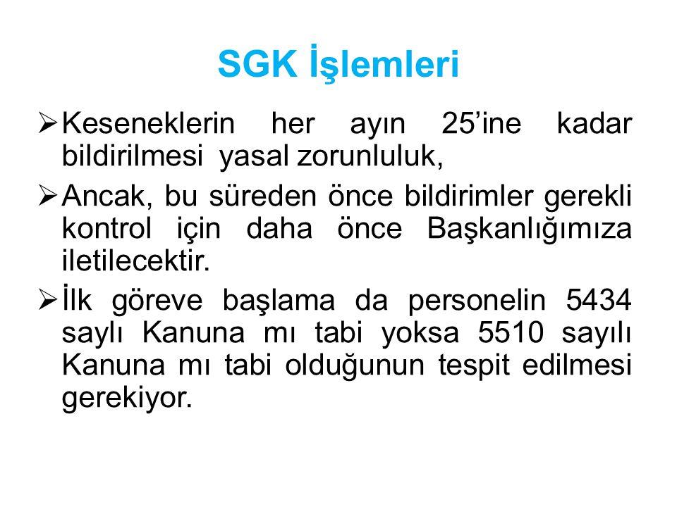 SGK İşlemleri  Keseneklerin her ayın 25'ine kadar bildirilmesi yasal zorunluluk,  Ancak, bu süreden önce bildirimler gerekli kontrol için daha önce Başkanlığımıza iletilecektir.