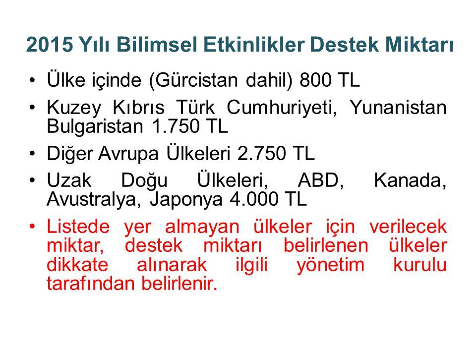 2015 Yılı Bilimsel Etkinlikler Destek Miktarı Ülke içinde (Gürcistan dahil) 800 TL Kuzey Kıbrıs Türk Cumhuriyeti, Yunanistan Bulgaristan 1.750 TL Diğe