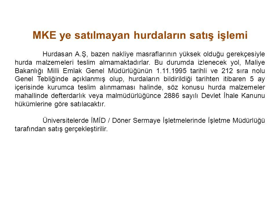 MKE ye satılmayan hurdaların satış işlemi Hurdasan A.Ş, bazen nakliye masraflarının yüksek olduğu gerekçesiyle hurda malzemeleri teslim almamaktadırlar.