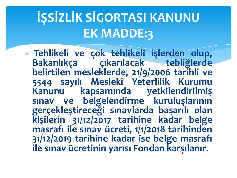 Tehlikeli ve çok tehlikeli işlerden olup, Bakanlıkça çıkarılacak tebliğlerde belirtilen mesleklerde, 21/9/2006 tarihli ve 5544 sayılı Meslekî Yeterl