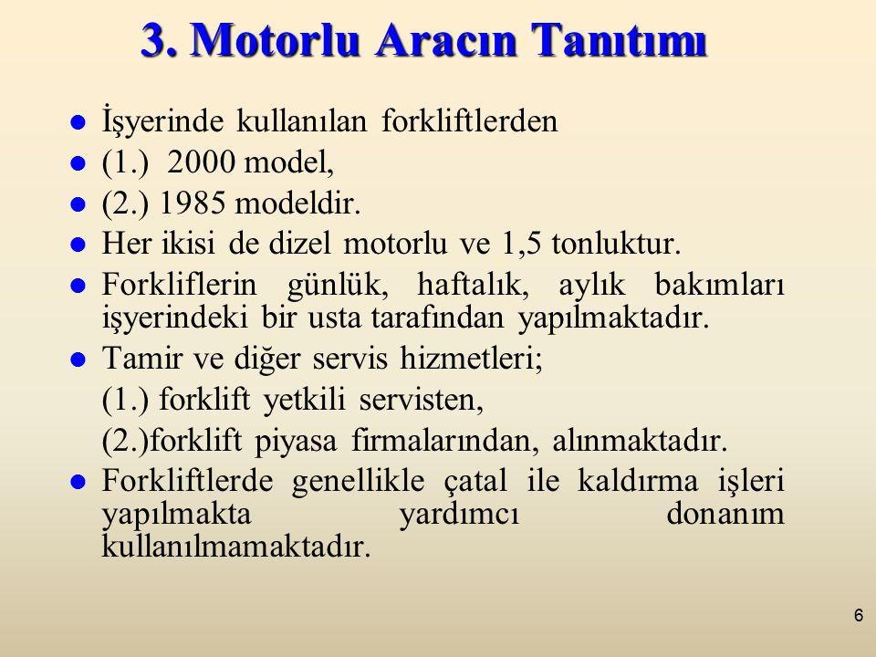 6 3. Motorlu Aracın Tanıtımı İşyerinde kullanılan forkliftlerden (1.) 2000 model, (2.) 1985 modeldir. Her ikisi de dizel motorlu ve 1,5 tonluktur. For