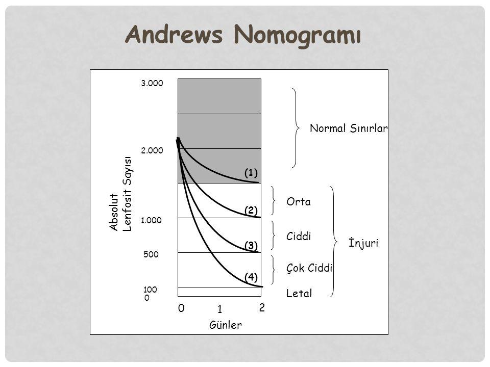 3.000 2.000 1.000 500 100 0 (1) (2) (3) (4) Normal Sınırlar İnjuri Orta Ciddi Çok Ciddi Letal 0 1 2 Günler Absolut Lenfosit Sayısı Andrews Nomogramı