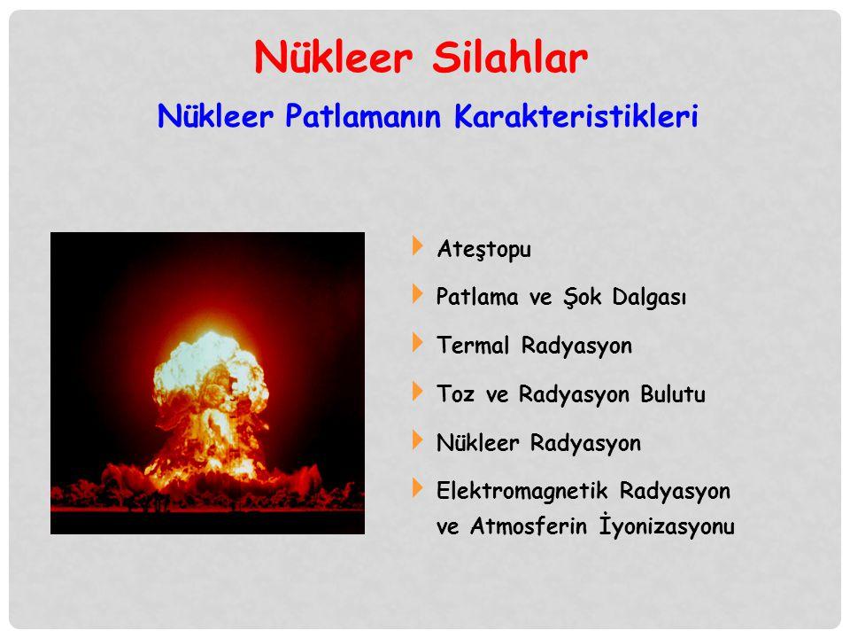 Nükleer Patlamanın Karakteristikleri  Ateştopu  Patlama ve Şok Dalgası  Termal Radyasyon  Toz ve Radyasyon Bulutu  Nükleer Radyasyon  Elektromag