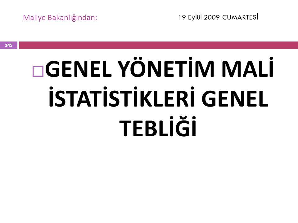 Maliye Bakanlığından:  GENEL YÖNETİM MALİ İSTATİSTİKLERİ GENEL TEBLİĞİ 19 Eylül 2009 CUMARTES İ 145