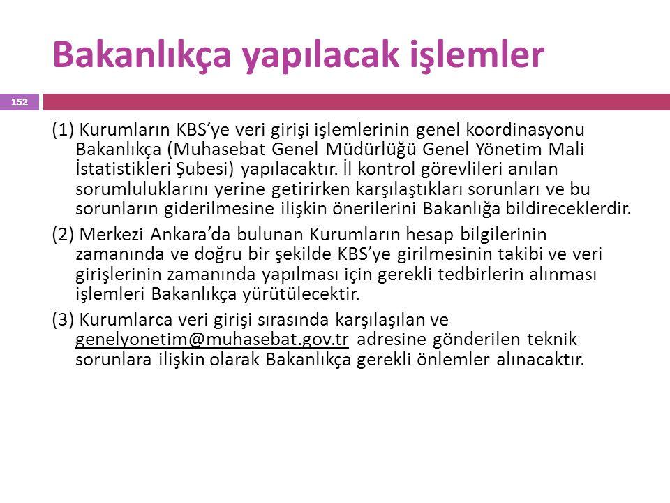 Bakanlıkça yapılacak işlemler (1) Kurumların KBS'ye veri girişi işlemlerinin genel koordinasyonu Bakanlıkça (Muhasebat Genel Müdürlüğü Genel Yönetim M