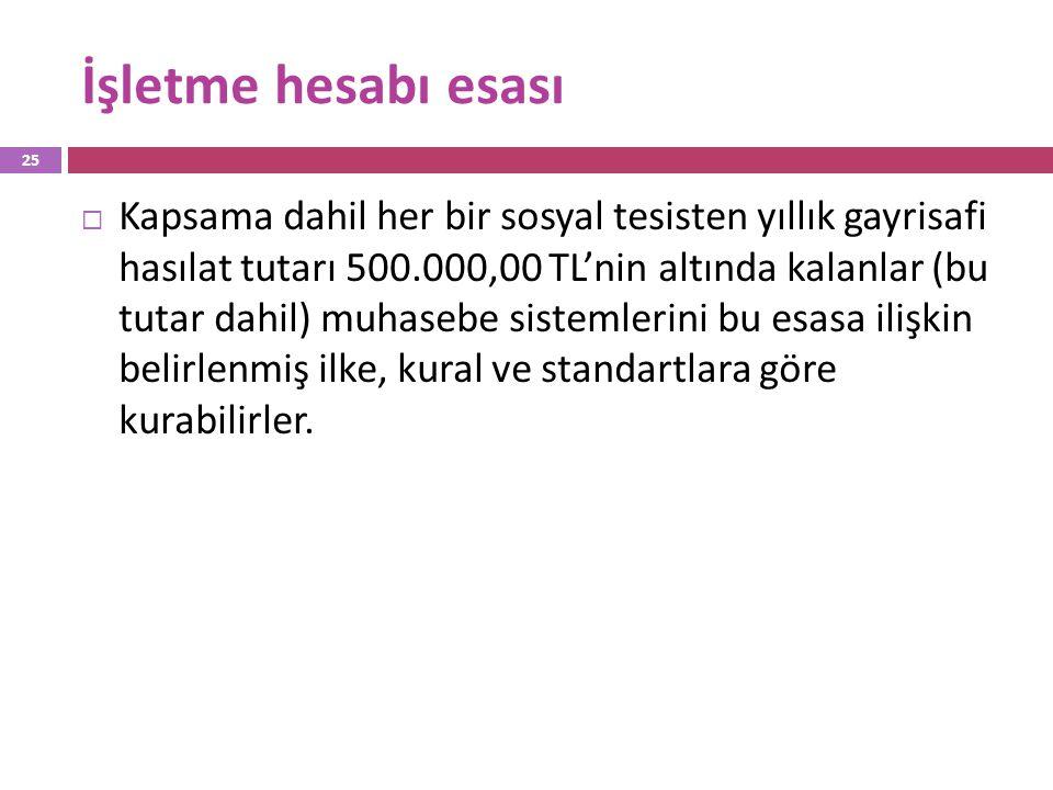 İşletme hesabı esası  Kapsama dahil her bir sosyal tesisten yıllık gayrisafi hasılat tutarı 500.000,00 TL'nin altında kalanlar (bu tutar dahil) muhas