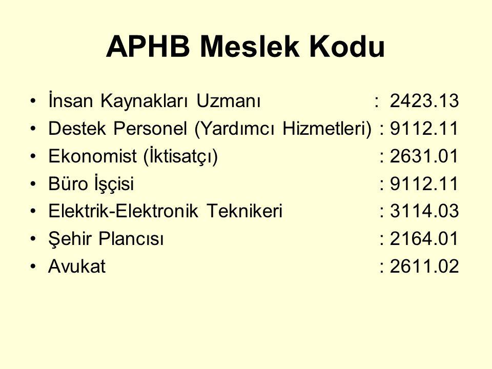 APHB Meslek Kodu İnsan Kaynakları Uzmanı: 2423.13 Destek Personel (Yardımcı Hizmetleri) : 9112.11 Ekonomist (İktisatçı) : 2631.01 Büro İşçisi : 9112.1