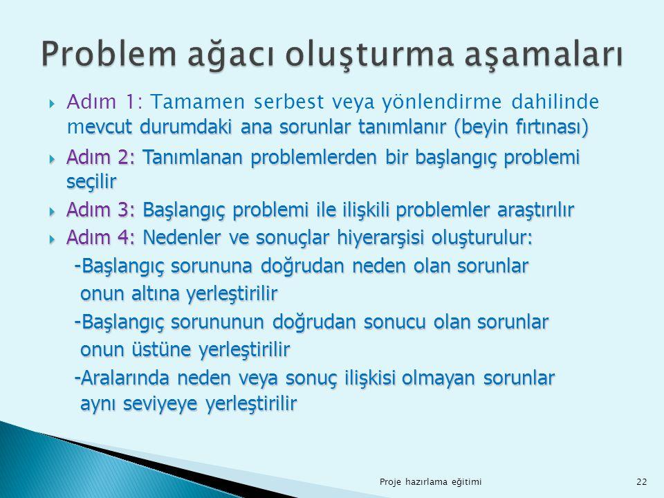 evcut durumdaki ana sorunlar tanımlanır (beyin fırtınası)  Adım 1: Tamamen serbest veya yönlendirme dahilinde m evcut durumdaki ana sorunlar tanımlan