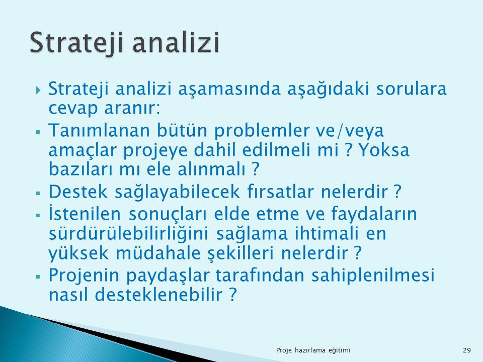 Strateji analizi aşamasında aşağıdaki sorulara cevap aranır:  Tanımlanan bütün problemler ve/veya amaçlar projeye dahil edilmeli mi ? Yoksa bazılar
