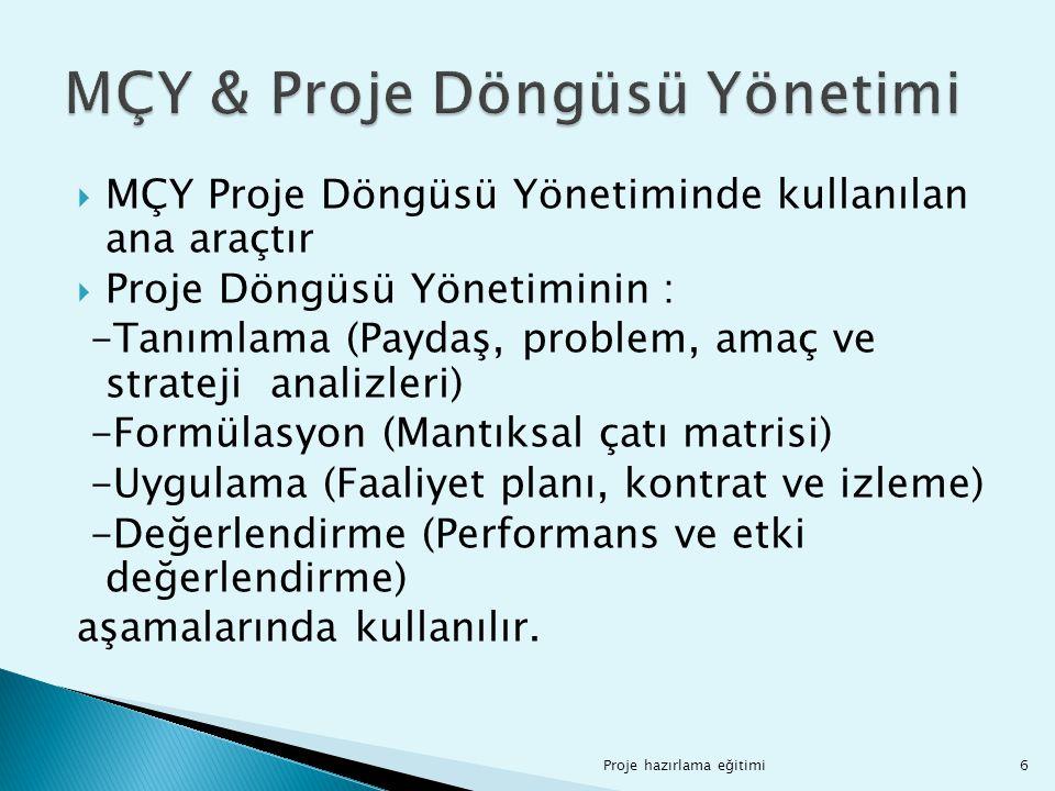  MÇY Proje Döngüsü Yönetiminde kullanılan ana araçtır  Proje Döngüsü Yönetiminin : -Tanımlama (Paydaş, problem, amaç ve strateji analizleri) -Formül