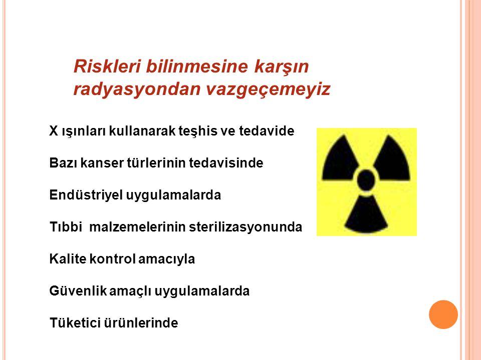 Riskleri bilinmesine karşın radyasyondan vazgeçemeyiz X ışınları kullanarak teşhis ve tedavide Bazı kanser türlerinin tedavisinde Endüstriyel uygulamalarda Tıbbi malzemelerinin sterilizasyonunda Kalite kontrol amacıyla Güvenlik amaçlı uygulamalarda Tüketici ürünlerinde