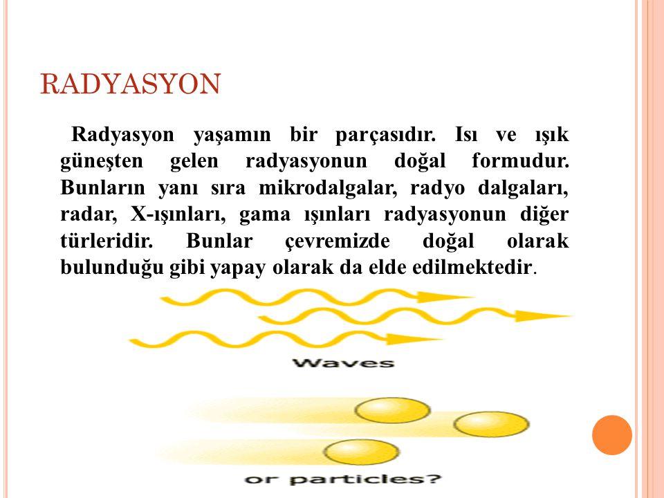 RADYASYON Radyasyon yaşamın bir parçasıdır.Isı ve ışık güneşten gelen radyasyonun doğal formudur.