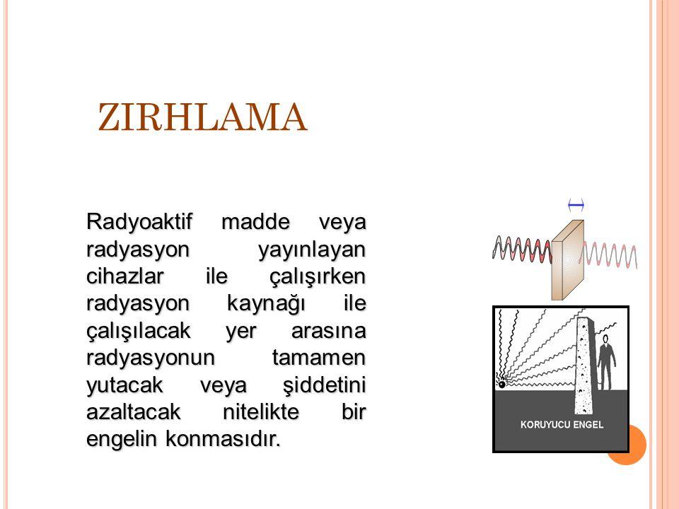 ZIRHLAMA Radyoaktif madde veya radyasyon yayınlayan cihazlar ile çalışırken radyasyon kaynağı ile çalışılacak yer arasına radyasyonun tamamen yutacak veya şiddetini azaltacak nitelikte bir engelin konmasıdır.