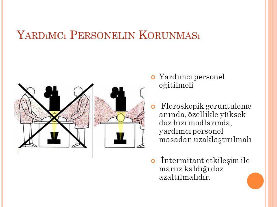 Y ARDıMCı P ERSONELIN K ORUNMASı Yardımcı personel eğitilmeli Floroskopik görüntüleme anında, özellikle yüksek doz hızı modlarında, yardımcı personel masadan uzaklaştırılmalı İntermitant etkileşim ile maruz kaldığı doz azaltılmalıdır.