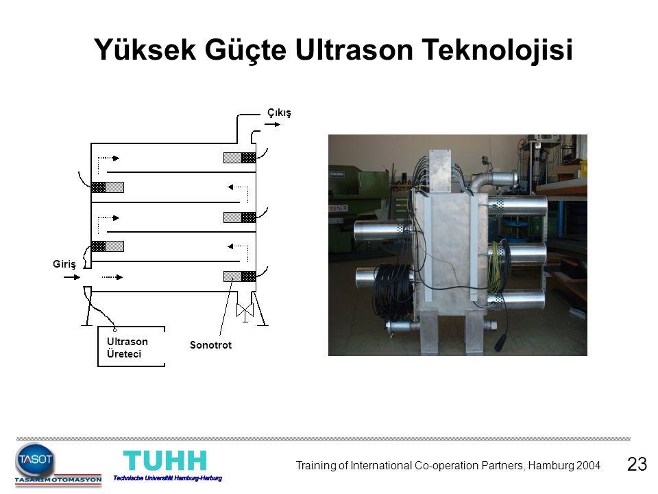 Yüksek Güçte Ultrason Teknolojisi 23 Ultrason Üreteci Sonotrot Giriş Çıkış Training of International Co-operation Partners, Hamburg 2004