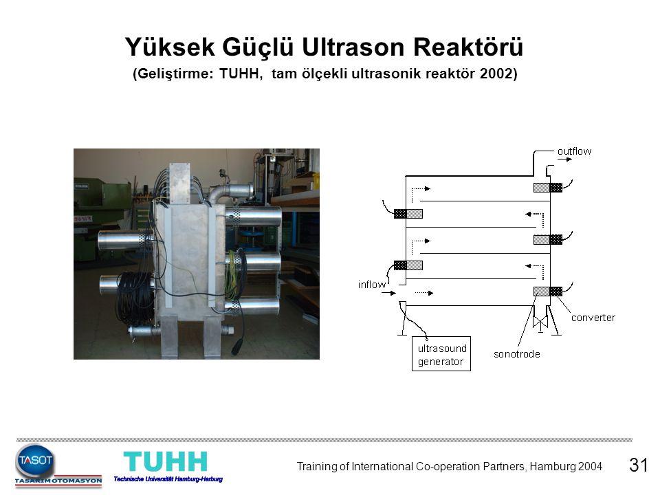 31 Training of International Co-operation Partners, Hamburg 2004 Yüksek Güçlü Ultrason Reaktörü (Geliştirme: TUHH, tam ölçekli ultrasonik reaktör 2002
