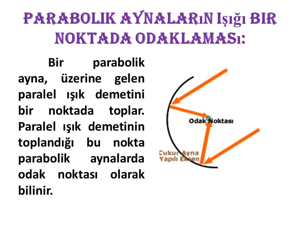 Parabolik Aynalar ı n I şığı Bir Noktada Odaklamas ı : Bir parabolik ayna, üzerine gelen paralel ışık demetini bir noktada toplar. Paralel ışık demeti