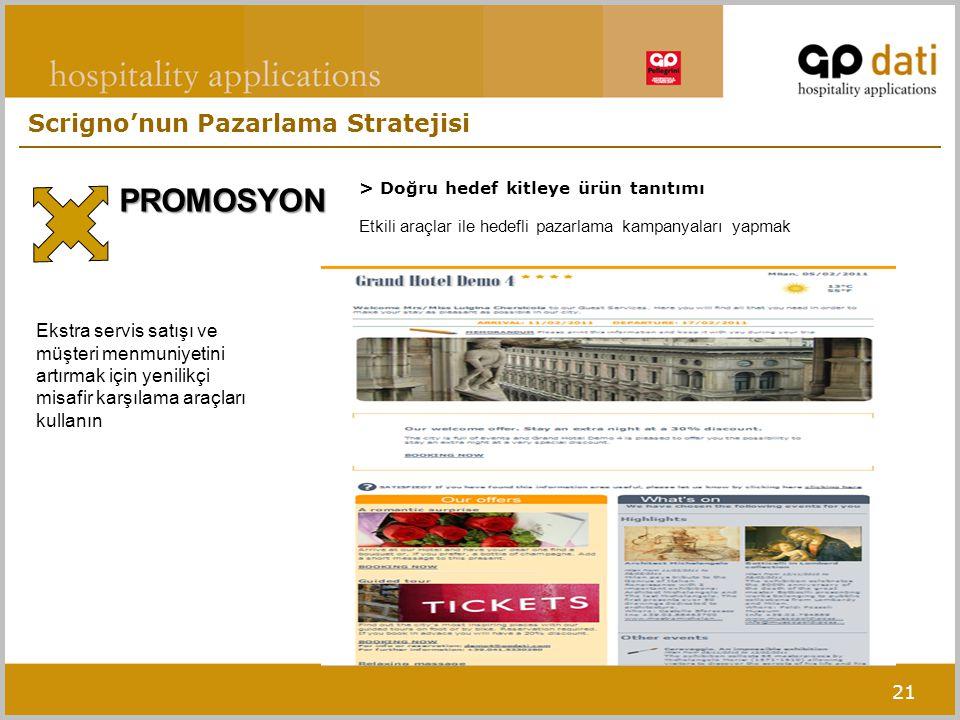 21 > Doğru hedef kitleye ürün tanıtımı PROMOSYON Etkili araçlar ile hedefli pazarlama kampanyaları yapmak Ekstra servis satışı ve müşteri menmuniyetini artırmak için yenilikçi misafir karşılama araçları kullanın Scrigno'nun Pazarlama Stratejisi