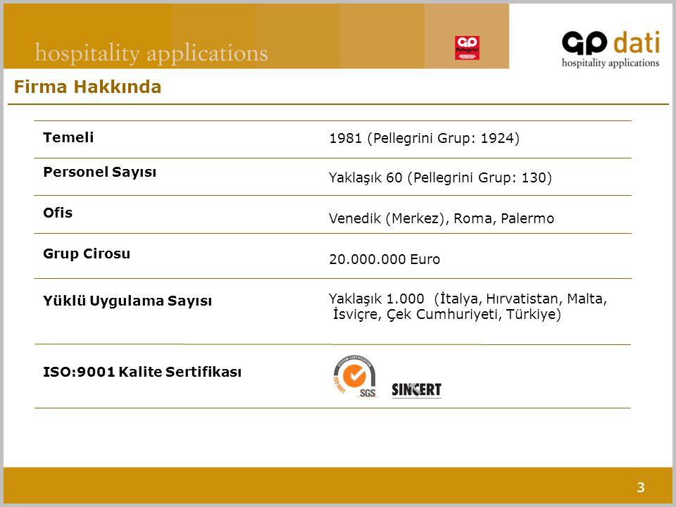 3 Firma Hakkında Temeli Personel Sayısı Ofis Grup Cirosu Yüklü Uygulama Sayısı ISO:9001 Kalite Sertifikası 1981 (Pellegrini Grup: 1924) Yaklaşık 60 (Pellegrini Grup: 130) Venedik (Merkez), Roma, Palermo 20.000.000 Euro Yaklaşık 1.000 (İtalya, Hırvatistan, Malta, İsviçre, Çek Cumhuriyeti, Türkiye)