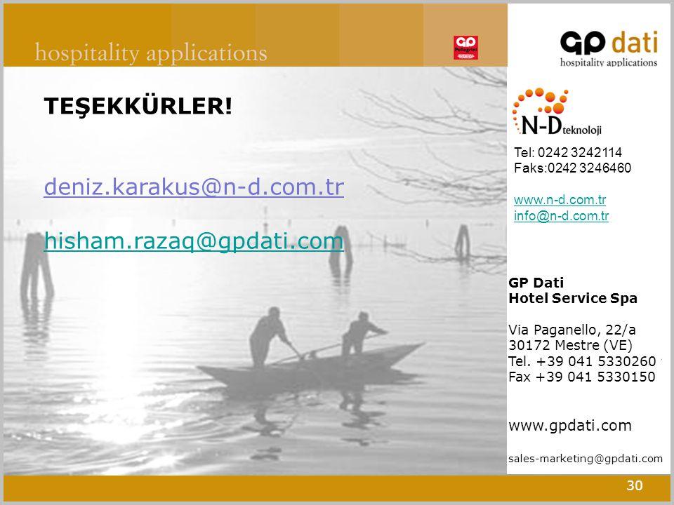 30 Tel: 0242 3242114 Faks:0242 3246460 www.n-d.com.tr info@n-d.com.tr TEŞEKKÜRLER.