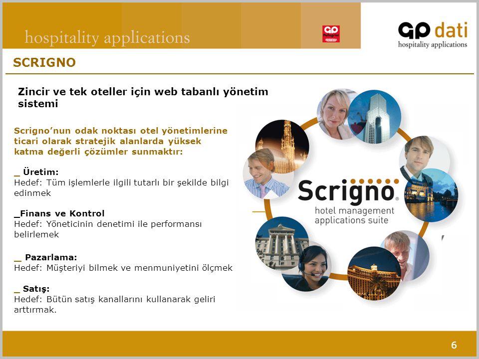 6 Scrigno'nun odak noktası otel yönetimlerine ticari olarak stratejik alanlarda yüksek katma değerli çözümler sunmaktır: _ Üretim: Hedef: Tüm işlemlerle ilgili tutarlı bir şekilde bilgi edinmek _Finans ve Kontrol Hedef: Yöneticinin denetimi ile performansı belirlemek _ Pazarlama: Hedef: Müşteriyi bilmek ve menmuniyetini ölçmek _ Satış: Hedef: Bütün satış kanallarını kullanarak geliri arttırmak.