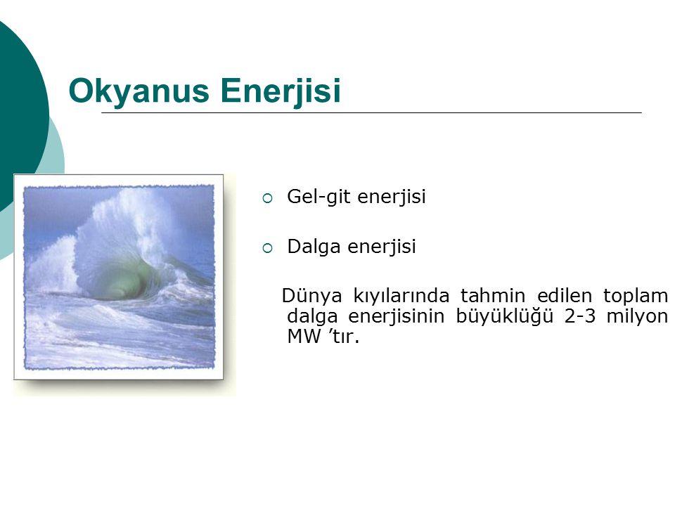 Okyanus Enerjisi  Gel-git enerjisi  Dalga enerjisi Dünya kıyılarında tahmin edilen toplam dalga enerjisinin büyüklüğü 2-3 milyon MW 'tır.