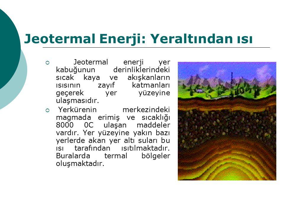 Jeotermal Enerji: Yeraltından ısı  Jeotermal enerji yer kabuğunun derinliklerindeki sıcak kaya ve akışkanların ısısının zayıf katmanları geçerek yer