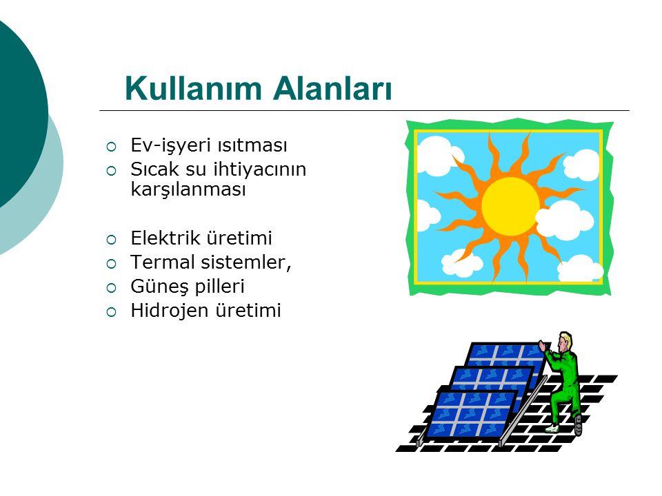  Ev-işyeri ısıtması  Sıcak su ihtiyacının karşılanması  Elektrik üretimi  Termal sistemler,  Güneş pilleri  Hidrojen üretimi Kullanım Alanları
