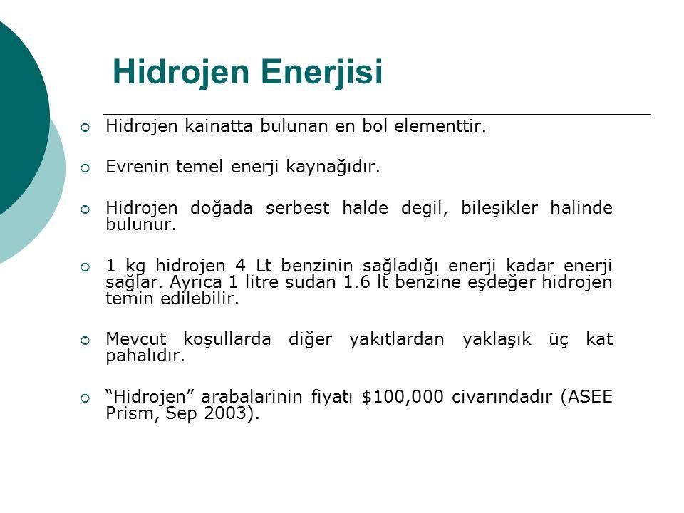 Hidrojen Enerjisi  Hidrojen kainatta bulunan en bol elementtir.  Evrenin temel enerji kaynağıdır.  Hidrojen doğada serbest halde degil, bileşikler