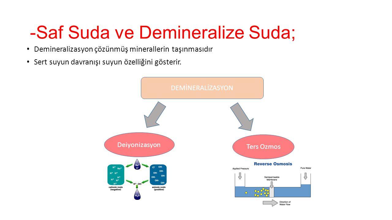 -Saf Suda ve Demineralize Suda; Demineralizasyon çözünmüş minerallerin taşınmasıdır Sert suyun davranışı suyun özelliğini gösterir. DEMİNERALİZASYON D
