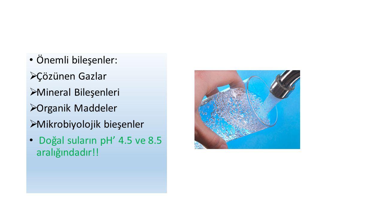 Önemli bileşenler:  Çözünen Gazlar  Mineral Bileşenleri  Organik Maddeler  Mikrobiyolojik bieşenler Doğal suların pH' 4.5 ve 8.5 aralığındadır!!